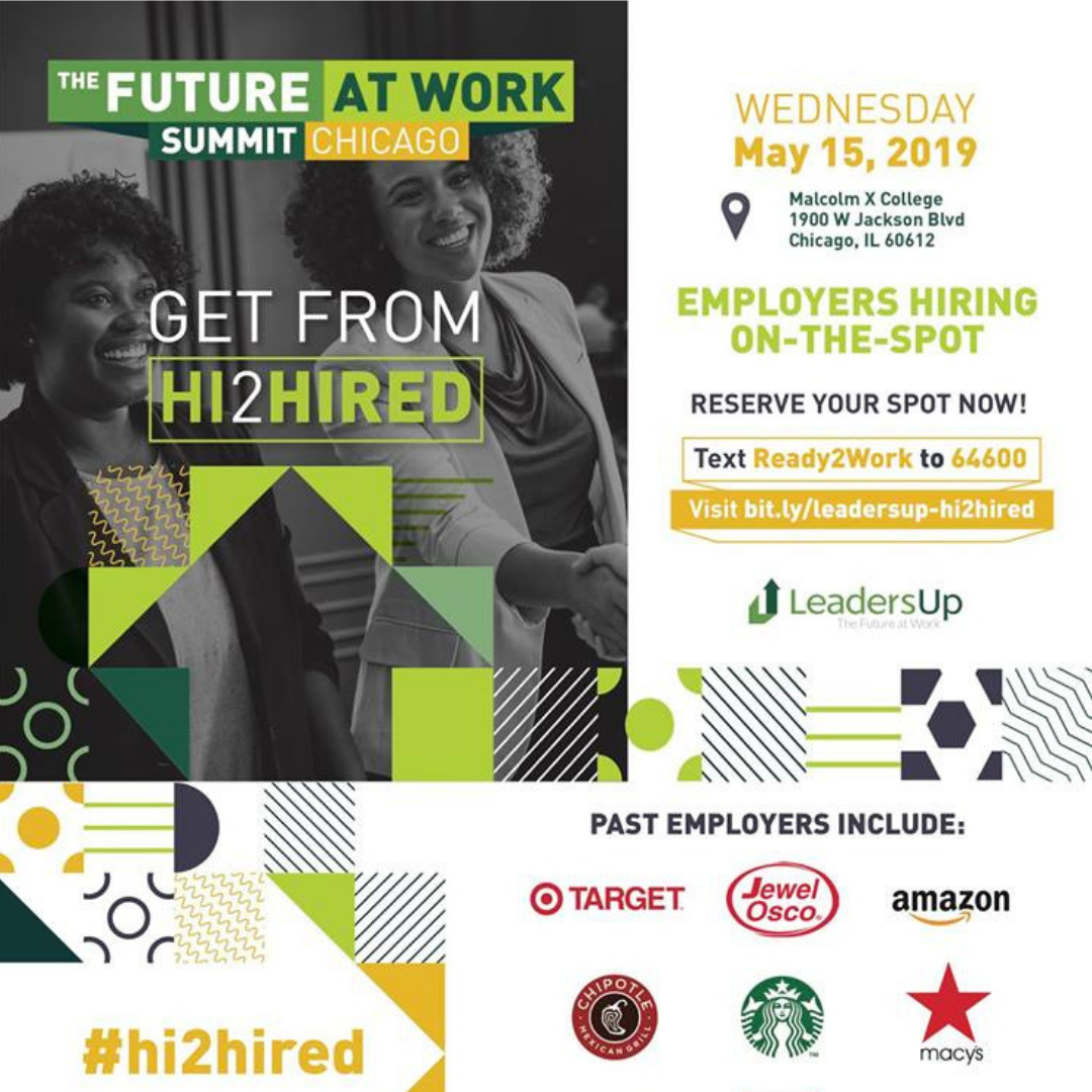 The Future At Work Summit flyer for Chicago job fair.