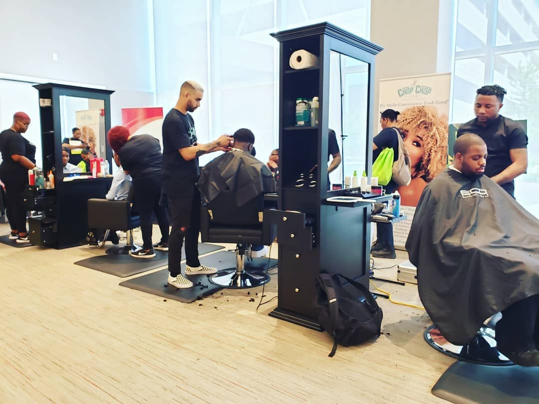 mobile salon and mobile barber show pop-up